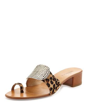 Ginet Metal-Detail Leopard-Print Sandal