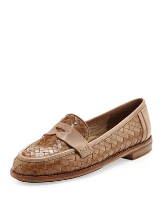 Nattie Woven Leather Loafer, Camel