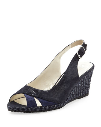 Barbie Metallic Slingback Wedge, Navy