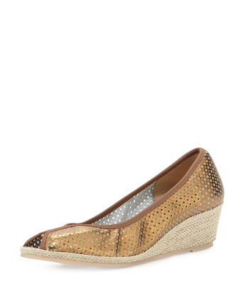 Mally Peep-Toe Wedge Sandal, Bronze