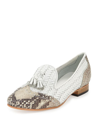Oralie Woven Tassel Brogue Loafer, White