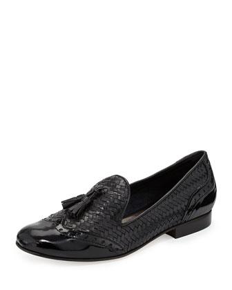 Oralie Woven Tassel Loafer, Black