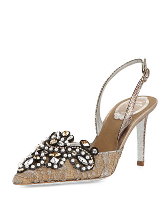Jeweled Lace Halter Pump, Silver/Bronze
