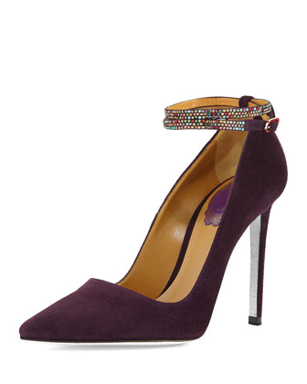 Suede Pump with Crystal Ankle-Strap, Purple
