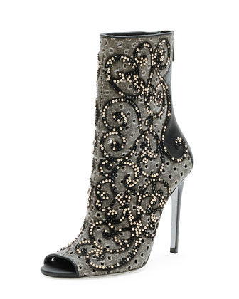 Crystal Canvas Peep-Toe Bootie, Black/Pearl