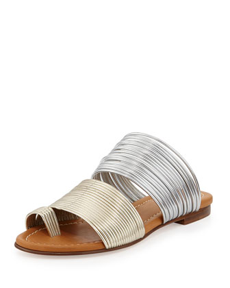 Cayman Two-Tone Metallic Corded Slide Sandal