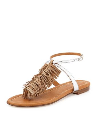 Maui Fringed Ankle-Strap Sandal, Desert