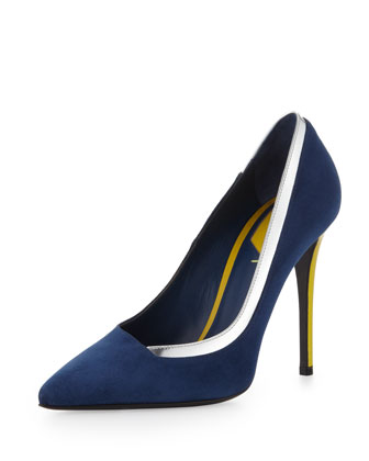 Suede & Metallic Point-Toe Pump, Indigo/Silver