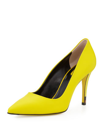 Anne Neon Point-Toe Pump, Lime