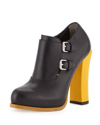 Monk Strap Leather Ankle Bootie