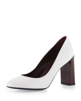 Patent Block Heel Pump, White/Bordeaux