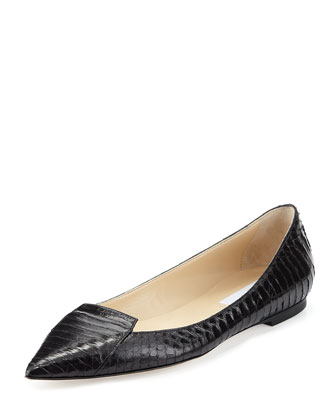 Attila Snakeskin Point-Toe Flat, Black