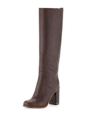Leather Block-Heel Knee Boot