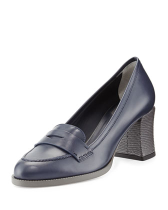 Mid-Heel Loafer Pump