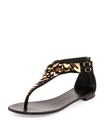 Suede Metal-Feather Thong Sandal, Nero