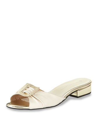 Elsie Ruched Buckle Slide Sandal