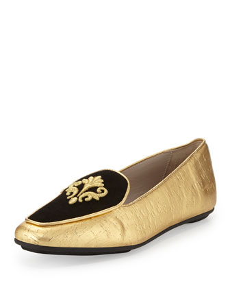 Quinn Painted-Cork Emblem Loafer, Gold/Black