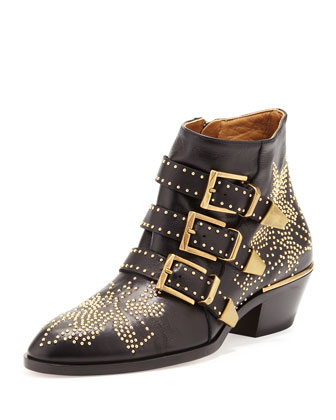 Suzanna Studded Leather Bootie, Black