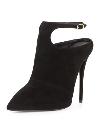 Suede Ankle-Strap Bootie, Nero