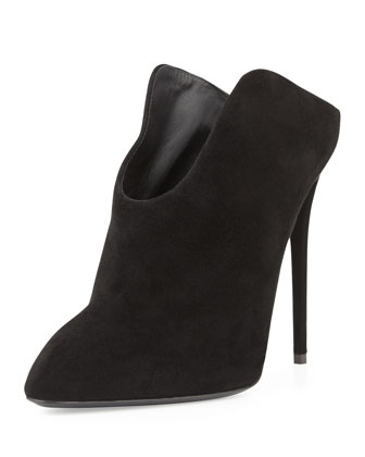 Suede Point-Toe Mule, Nero
