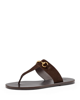 Horsebit Thong Slide Sandal, Cocoa