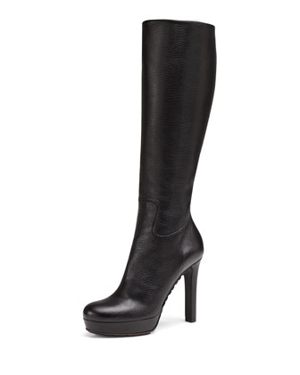 Leather Zip Knee Boot, Black