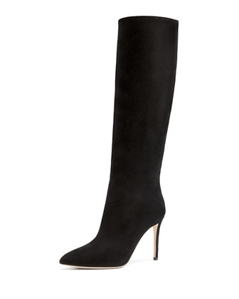Suede Point-Toe Knee Boot, Nero