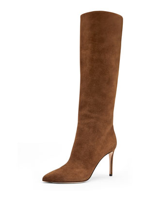 Suede Point-Toe Knee Boot, Nut Brown