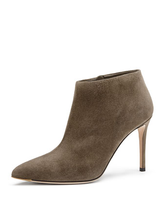 Suede Point-Toe Ankle Bootie, Gray