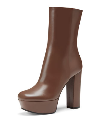 Side-Zip Leather Platform Boot, Almond