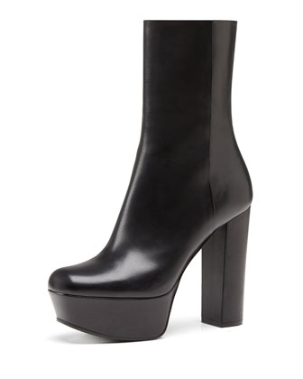 Leather Side-Zip Platform Boot, Nero