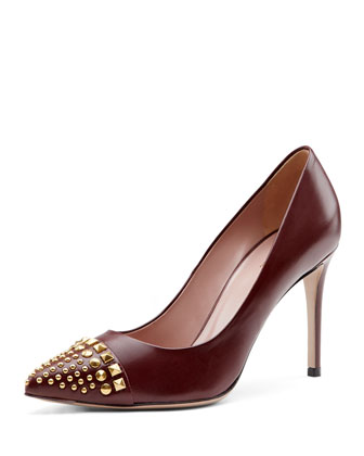 Studded Cap-Toe Pump, Burgundy