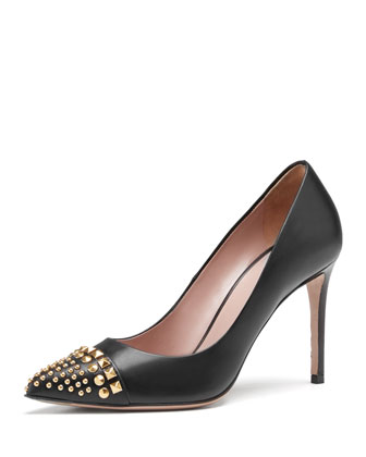 Studded Cap-Toe Pump, Black