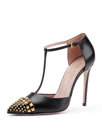 Studded T-Strap Cap-Toe Pump, Nero