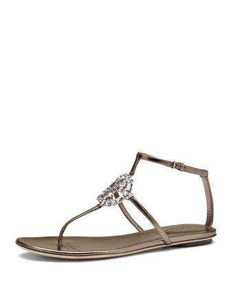 GG Crystal Thong Sandal, Gunmetal