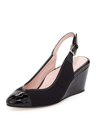Karine Stretch Slingback Wedge, Black