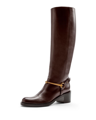 Leather Horsebit Knee Boot, Cocoa