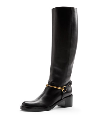Leather Knee Boot with Horsebit, Nero
