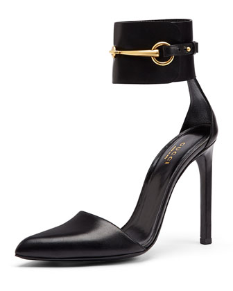 Horsebit Ankle-Cuff Pump, Nero