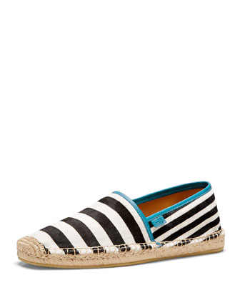 Striped Espadrille Slip-On, Blue/Black/White