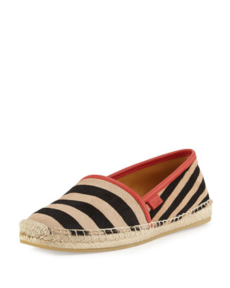 Striped Calf Hair Espadrille Slip-On