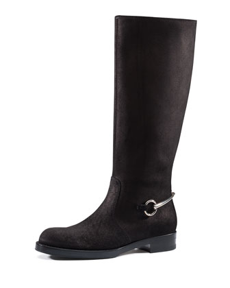 Knee Boot with Horsebit, Nero