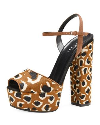 Leopard-Print Calf Hair Platform Sandal