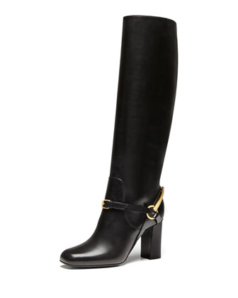 Knee Boot with Ankle Bit, Nero