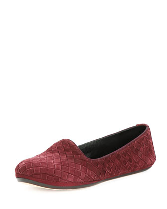 Suede Intrecciato Smoking Slipper, Bordeaux