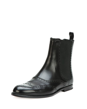 Spectator Leather Ankle Boot, Black
