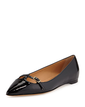 Patty C Patent Pointed-Toe Flat, Nero