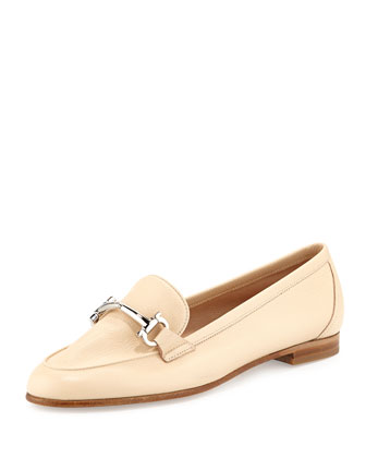 My Informal Leather Gancini Loafer, Butter Beige