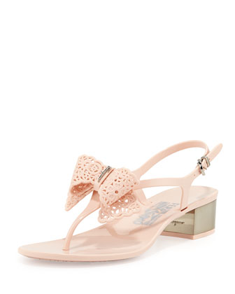 Perala Lace-Bow Jelly Sandal, Quarzo Rosa