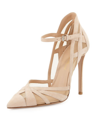Suede & Mesh Ankle-Strap Pump, Nude